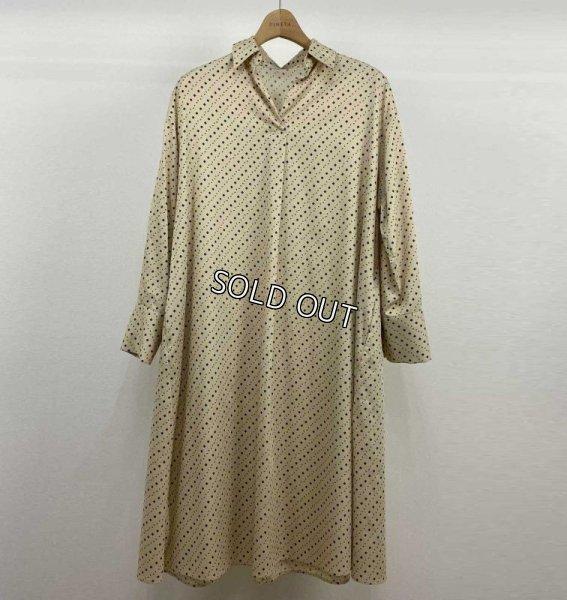 画像1: [PINETA]綿サテンプリントシャツワンピース (1)